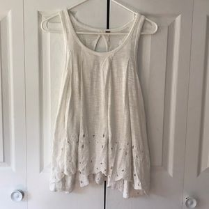 Free people white lace tank open back